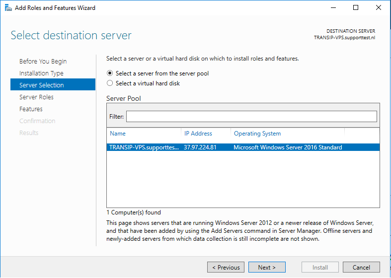 windows server role wizard select server