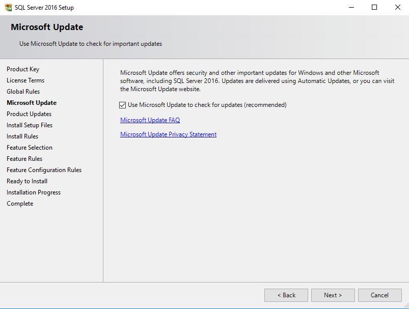 SQL Server installatie update optie