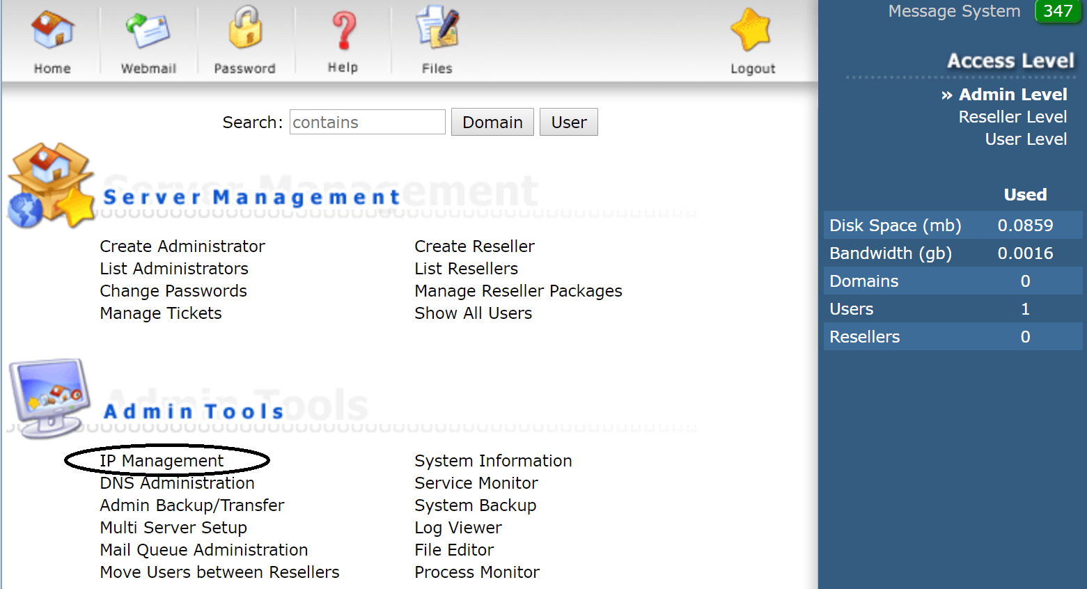 DirectAdmin IP management