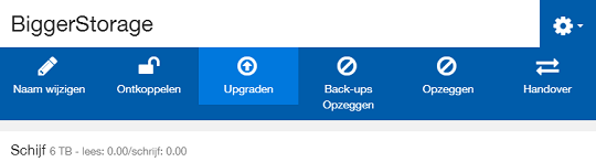 Upgrade Big Storage in het controlepaneel