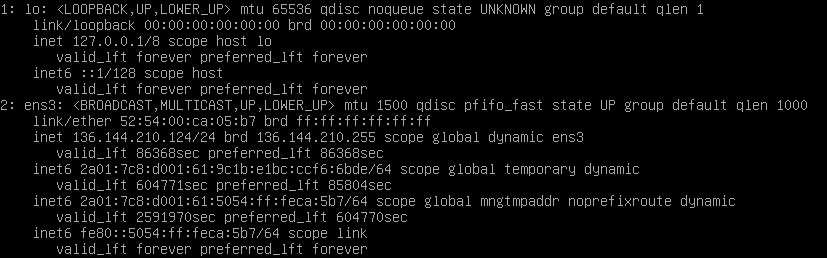 debian 9 ip a output