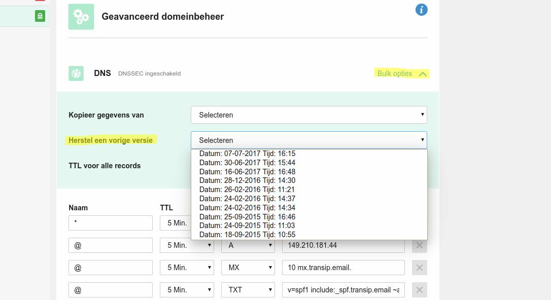 Een overzicht van de verschillende DNS-records per datum van wijziging