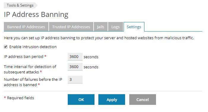 plesk fail2ban settings