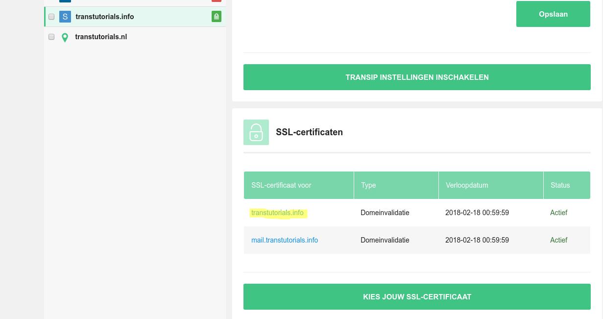 SSL-certificaten in het controlepaneel