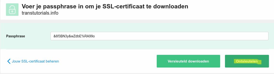 Het SSL-certificaat ontsleutelen