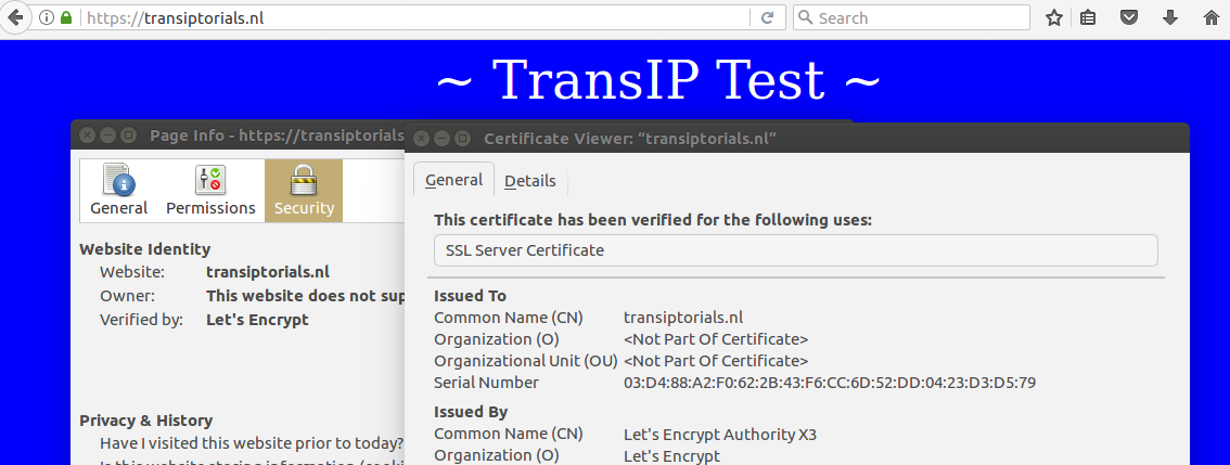 Een succesvolle test via https!