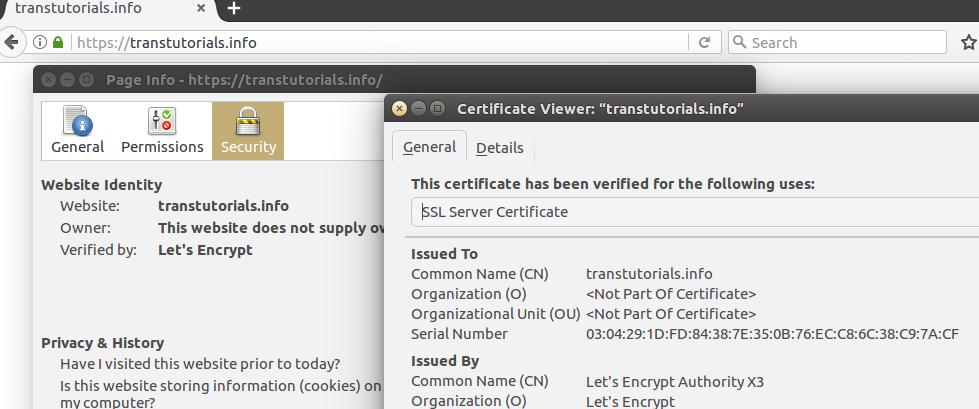 Het geïnstalleerde Let's Encrypt SSL-certificaat