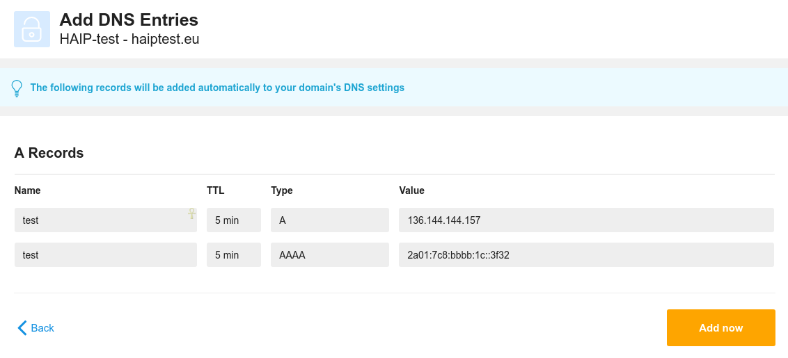 An example of the necessary DNS settings for HA-IP