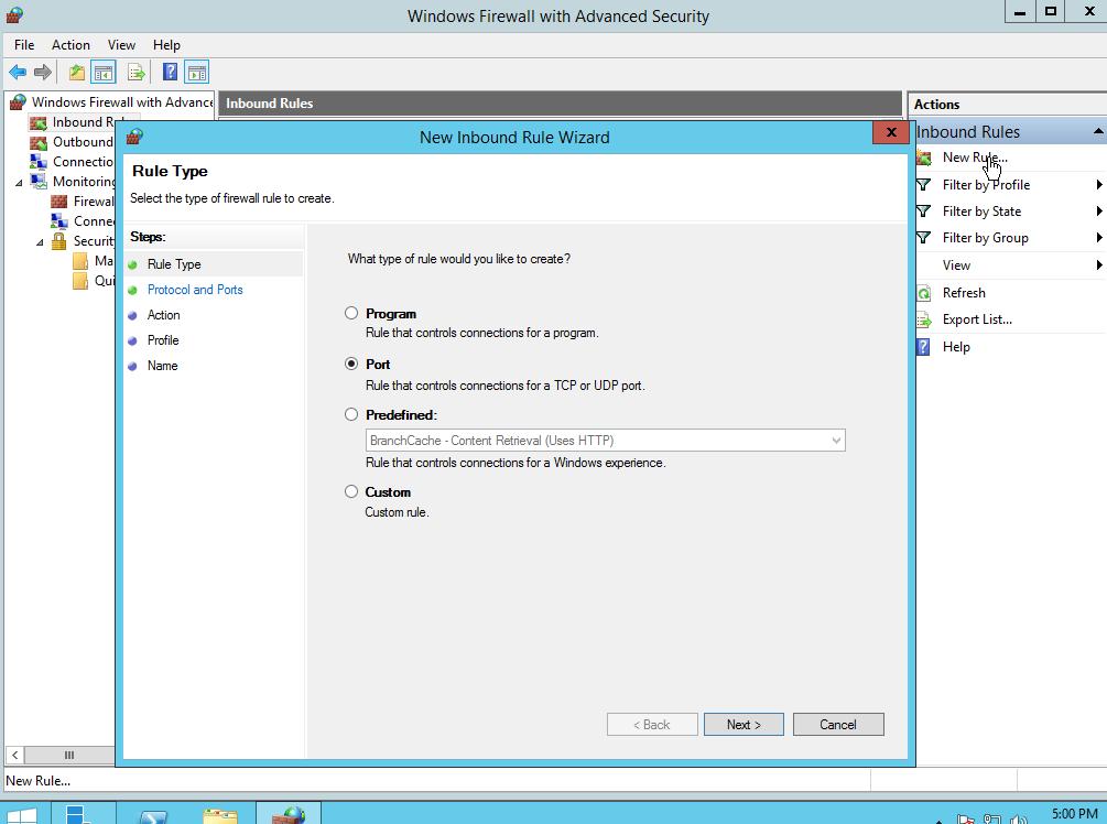 Nieuwe firewallregel in Windows Server