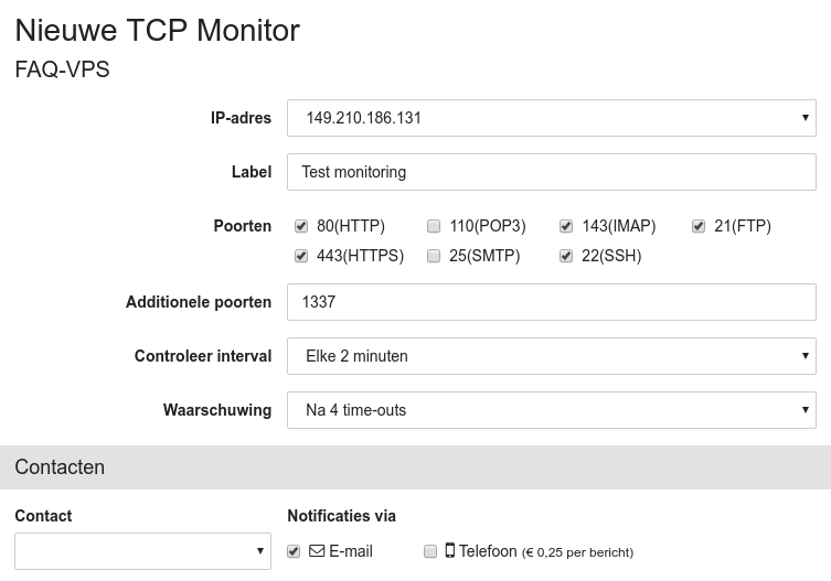 TCP monitoring