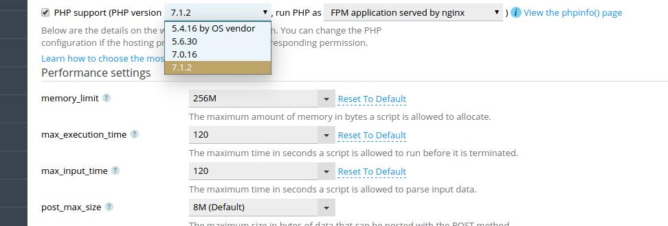 De PHP-versie aanpassen