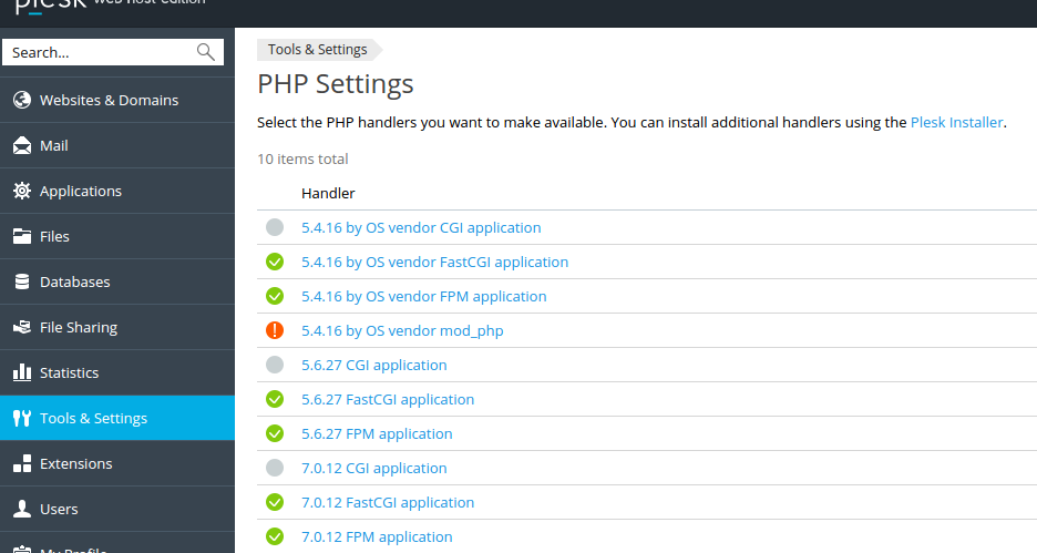 PHP Settings