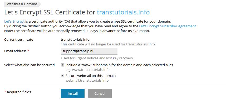 Voer de informatie in voor het Let's Encrypt SSL-certificaat