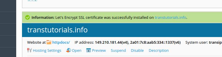 Het SSL-certificaat is aangemaakt!