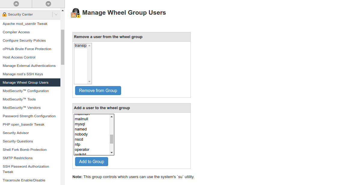add user to wheelgroup in WHM
