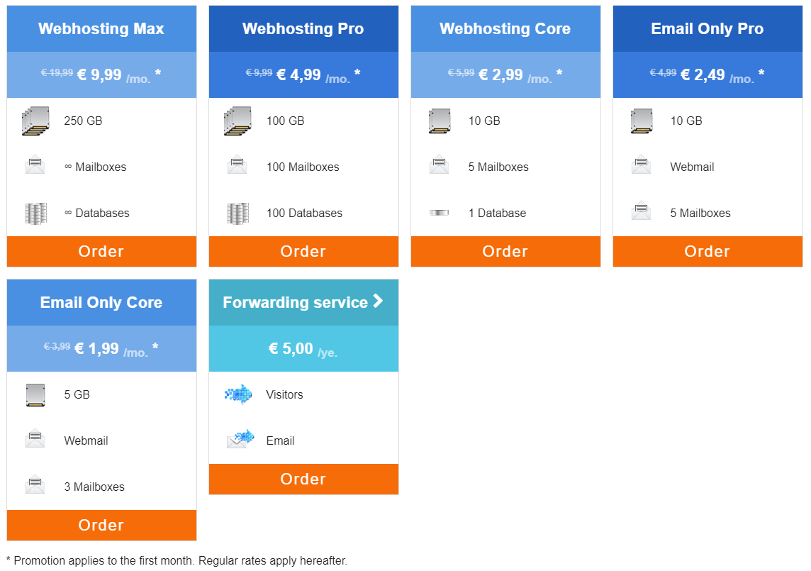 Choose a web hosting package