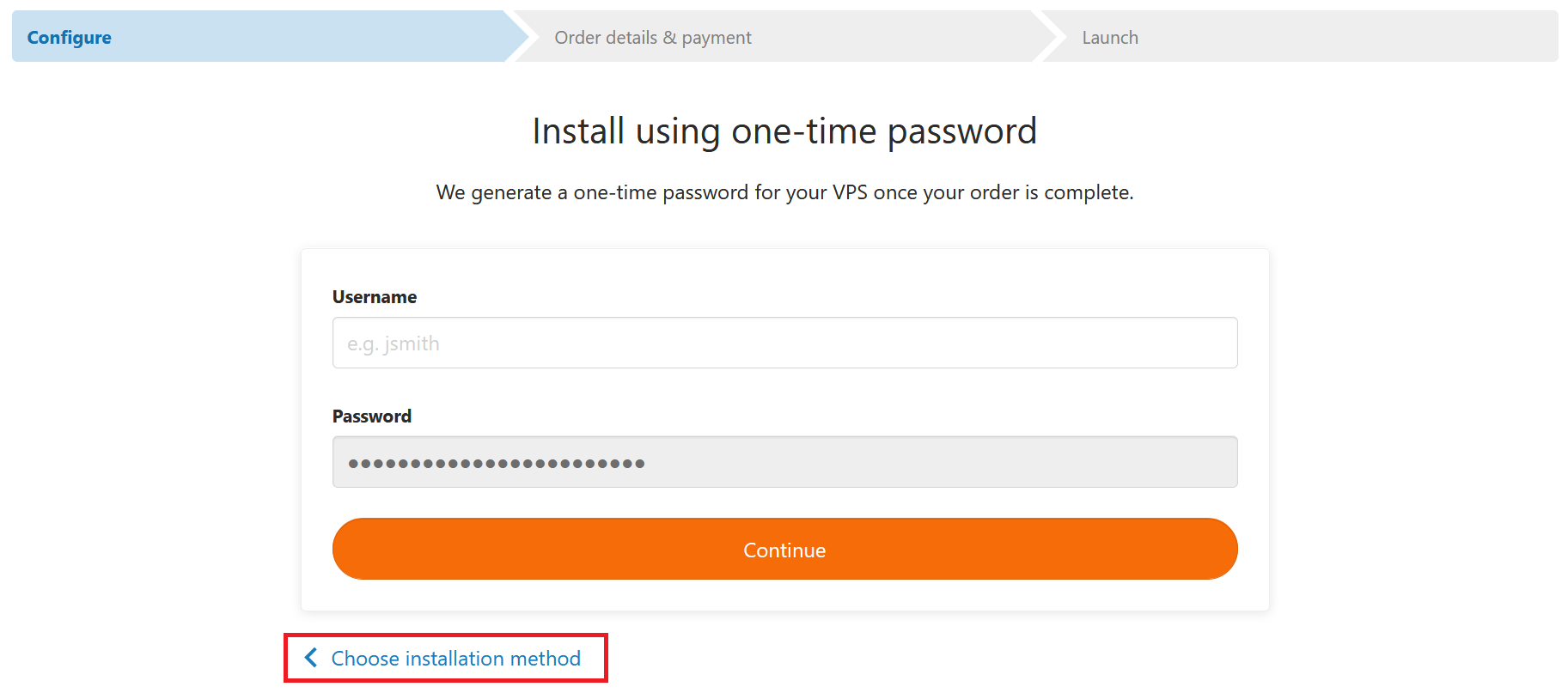 vps fast installs one time password - choose other installation method