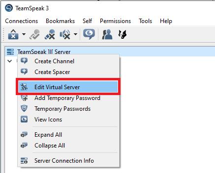 teamspeak edit server