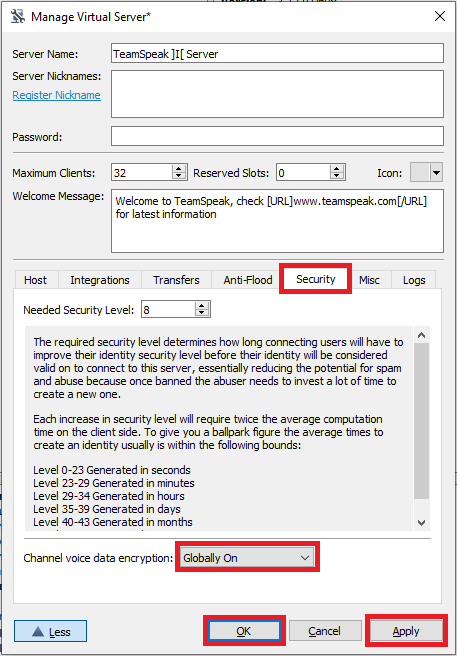 teamspeak server encryption