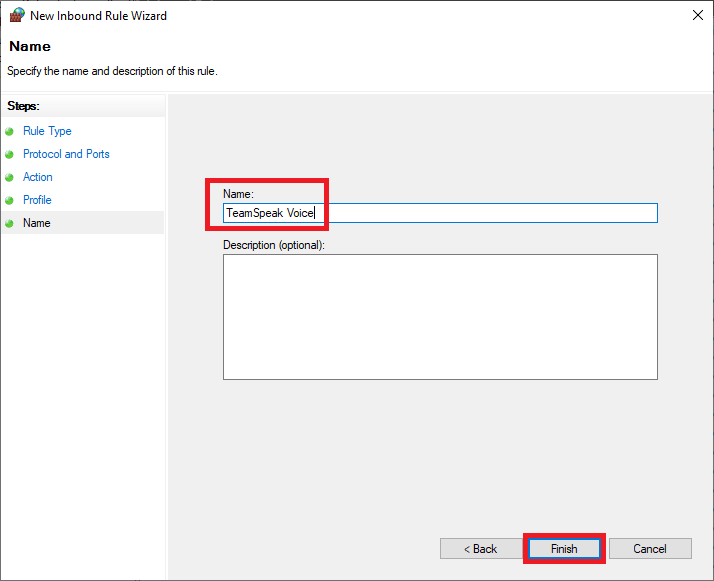 windows firewall advanced rule name - teamspeak