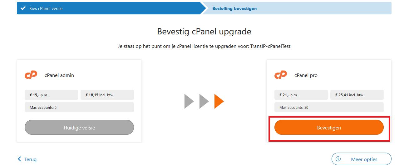 cp cpanel bevestig upgrade