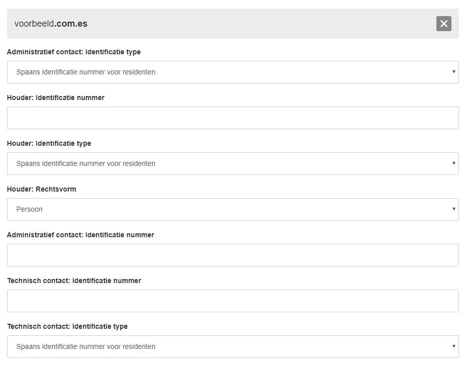 extra gegevens registratie verhuizing .com.es domein