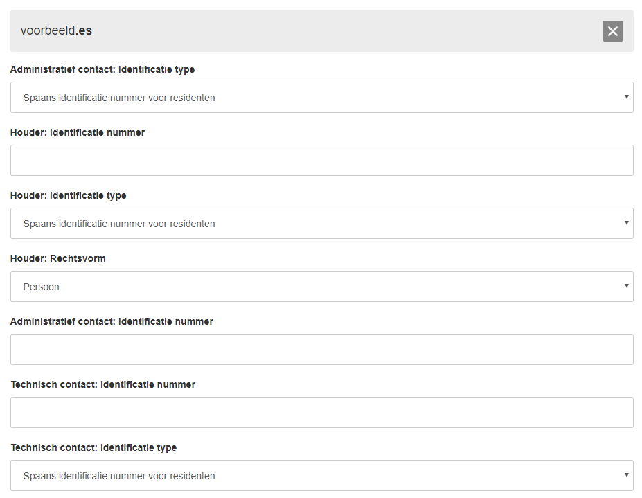 extra gegevens registratie verhuizing .es domein