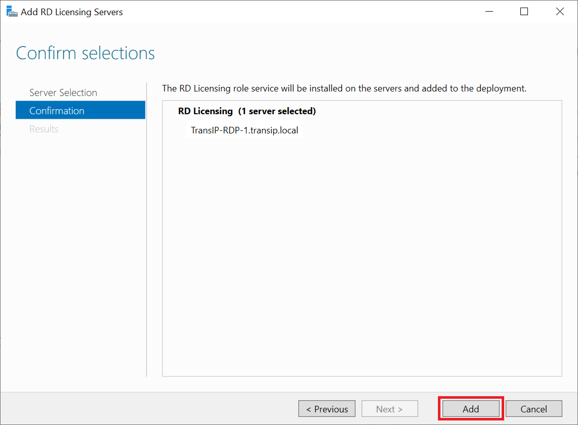 add rd licensing server confirm selection