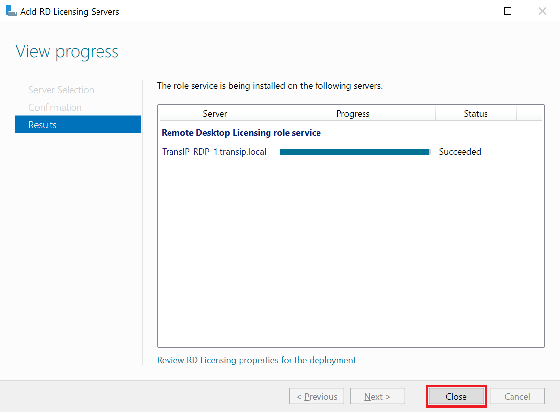 add rdlicensing server results