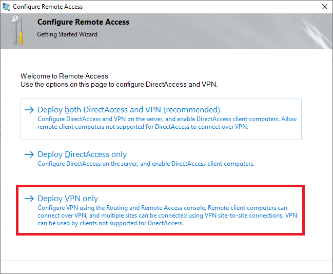 configure remote access vpn only