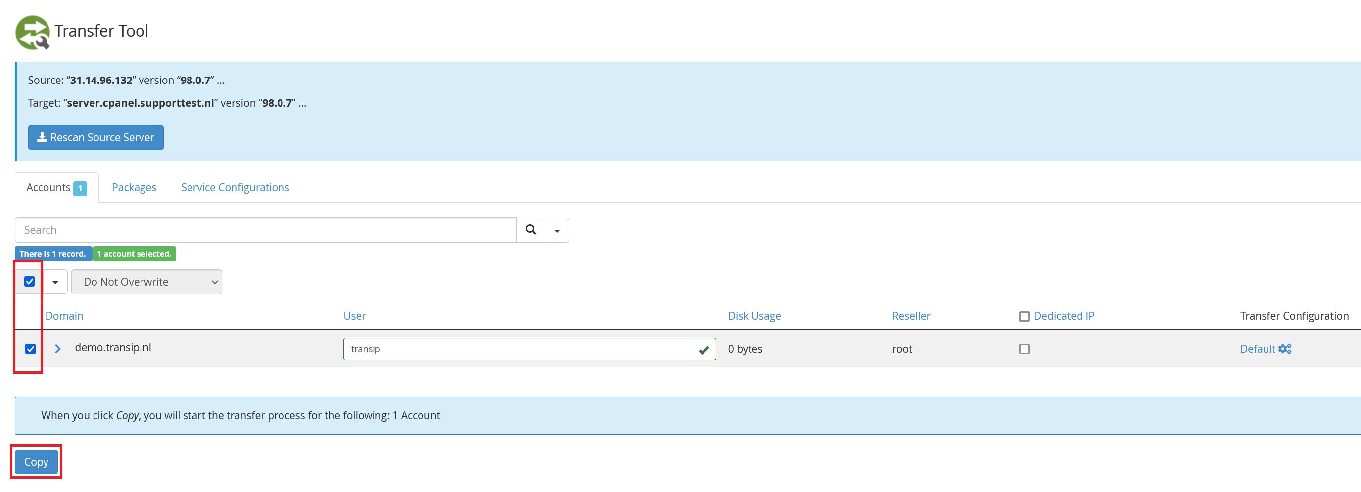 whm transfer tool accounts copy