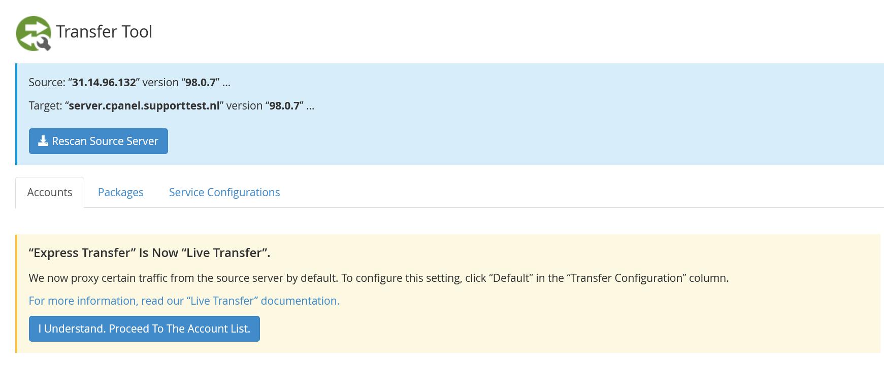 whm transfer tool accounts