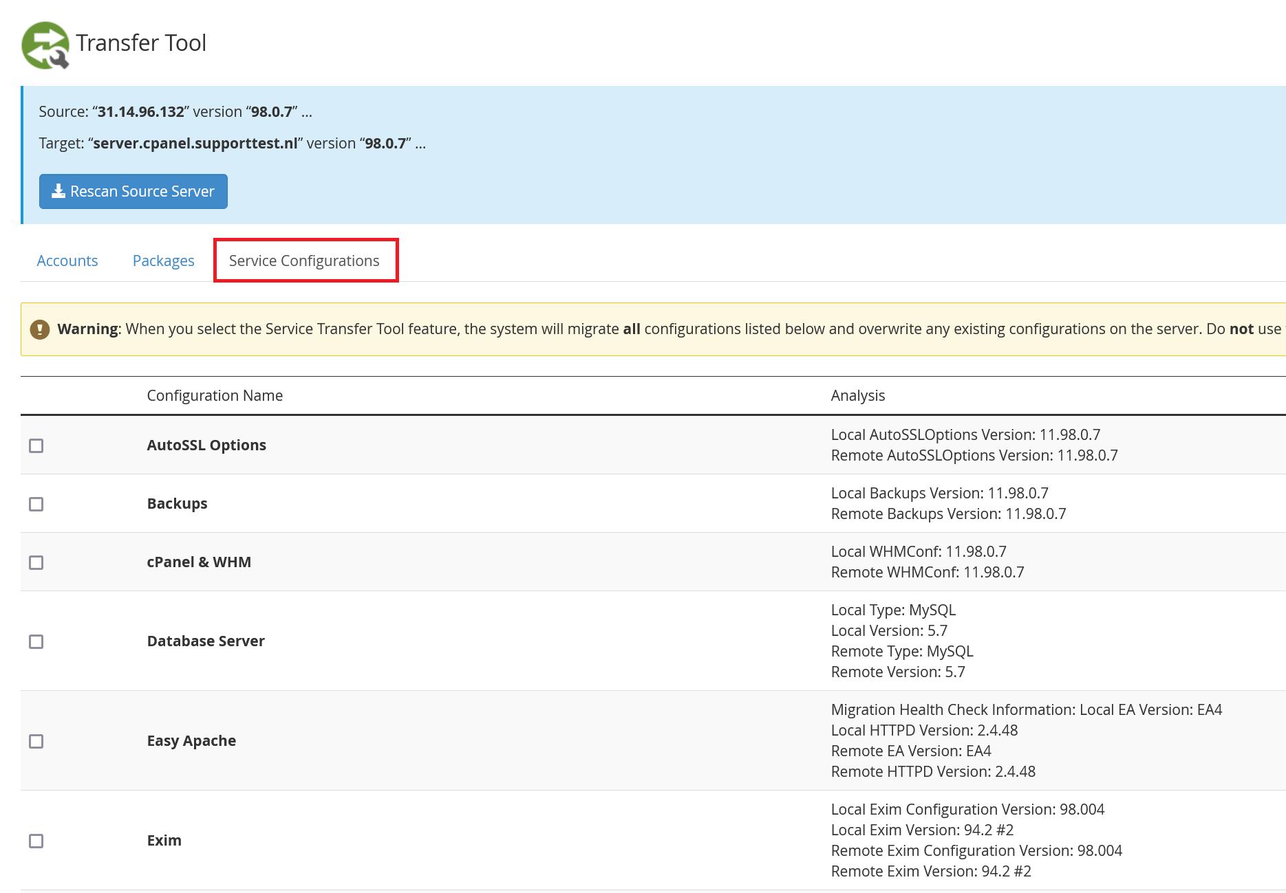 whm transfer tool server configurations
