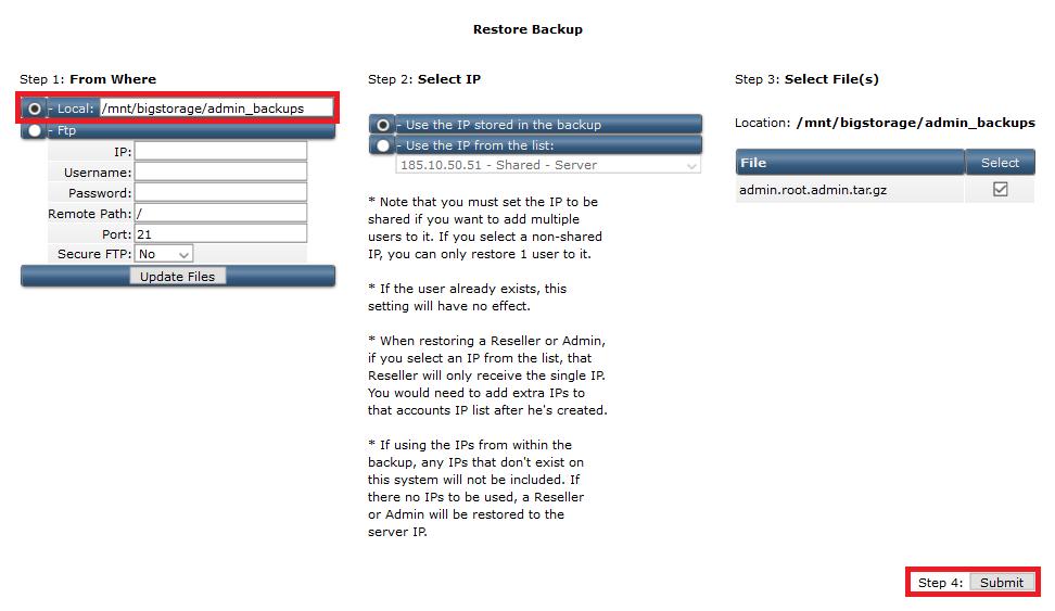 directadmin admin backup restore