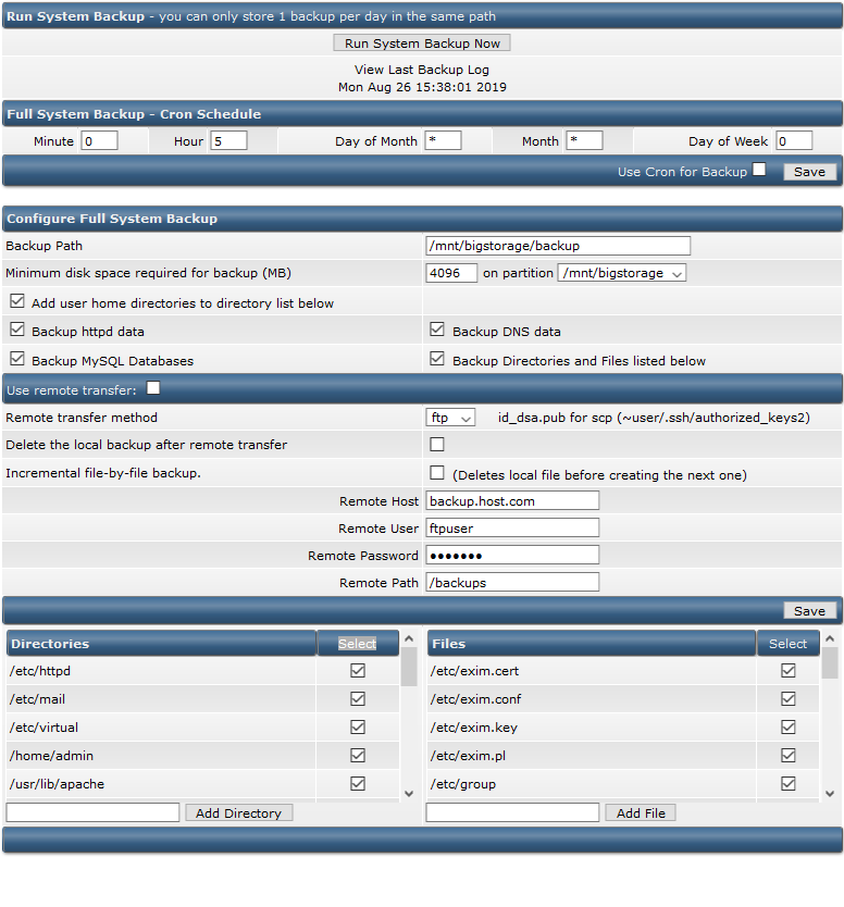 directadmin system backup