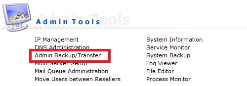 directadmin admin tools admin backup