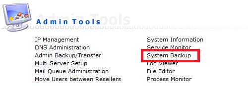 directadmin admin tools system backup