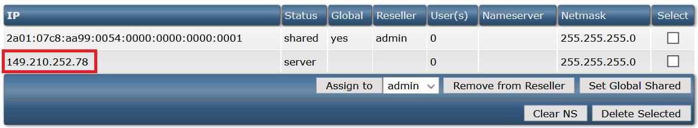 DirectAdmin IP overzicht