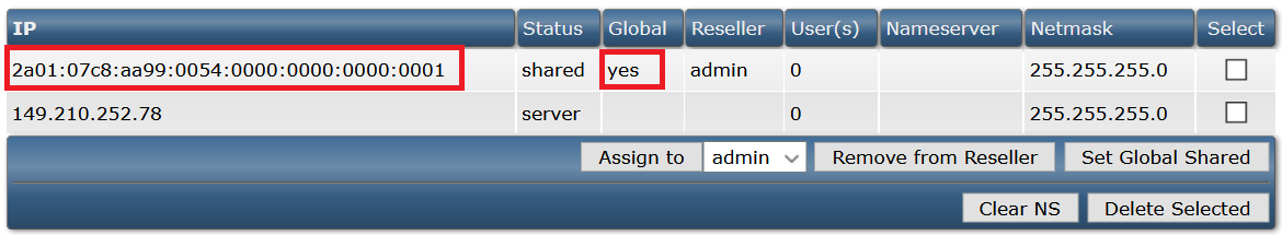da ip management select ipv6 address