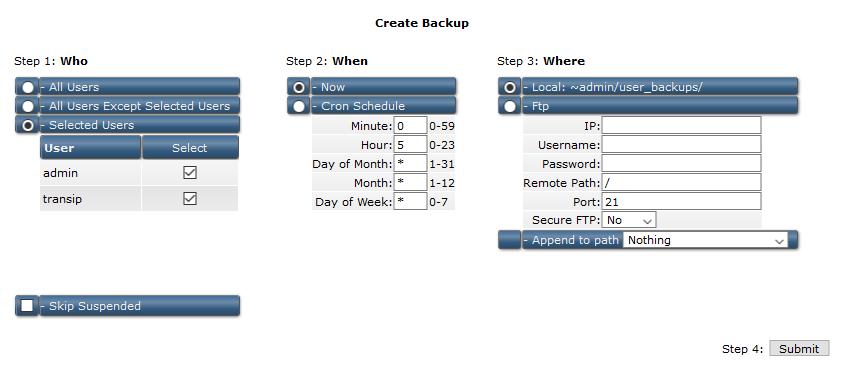 directadmin reseller create backup