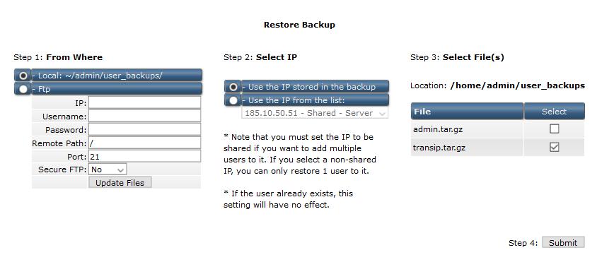 directadmin reseller restore backup