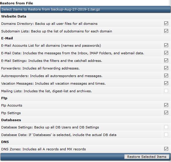 directadmin user backups restore from file