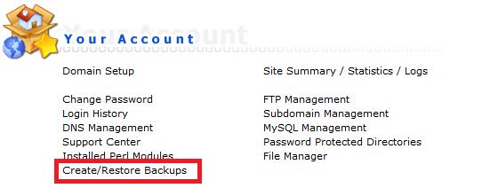 directadmin user backups