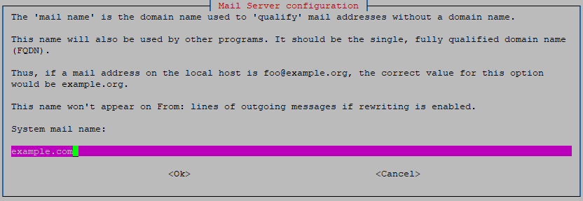 exim configuration - mail name