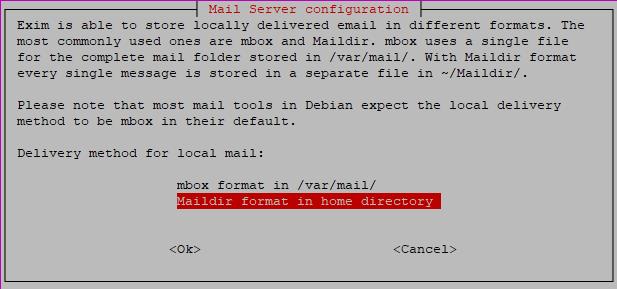 exim configuration - mbox or maildir