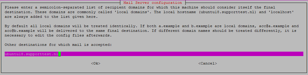 exim configuration - local domains