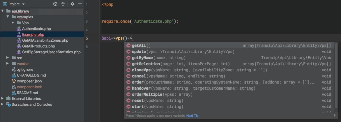 phpstorm example