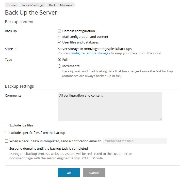 plesk admin backup manager server backup