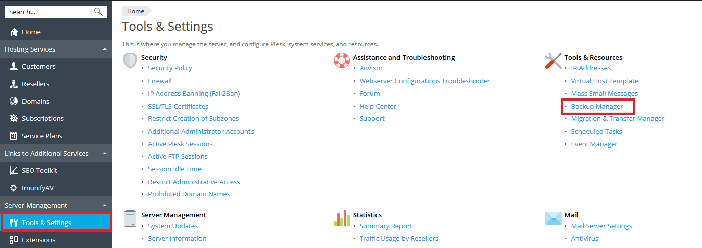 plesk admin tools & settings backup manager