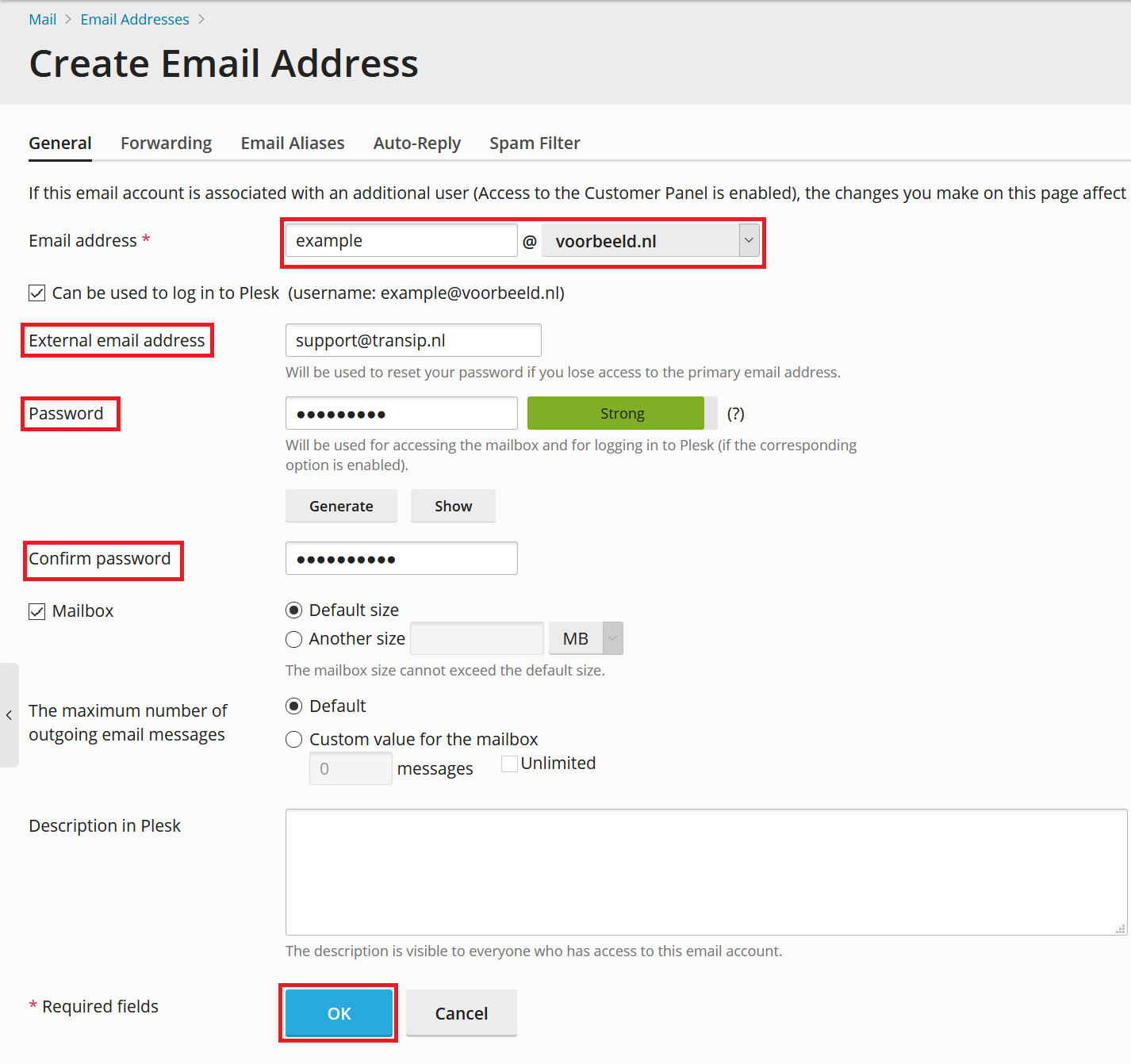 plesk create email address